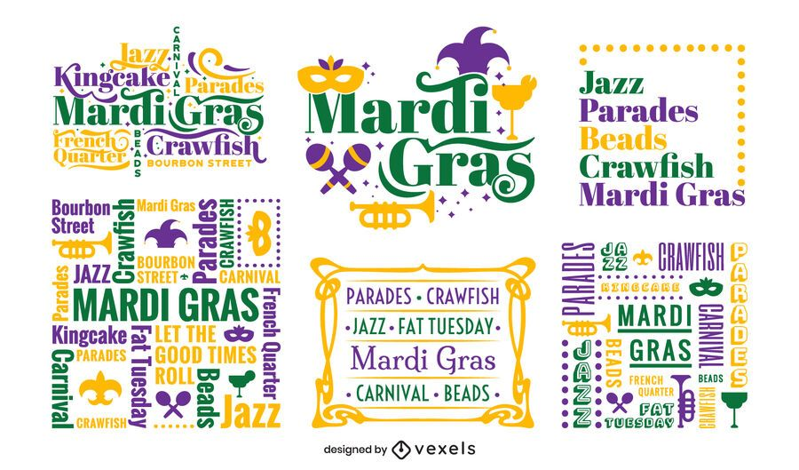 Mardi gras lettering composition set
