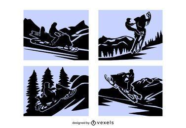 Schneemobil-Papierschnitt-Kompositionsset
