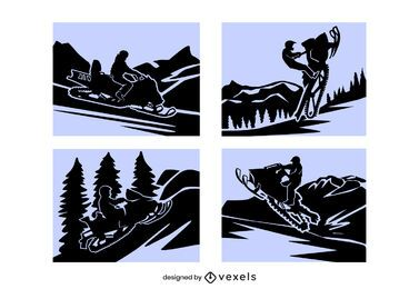Snowmobile papercut composition set