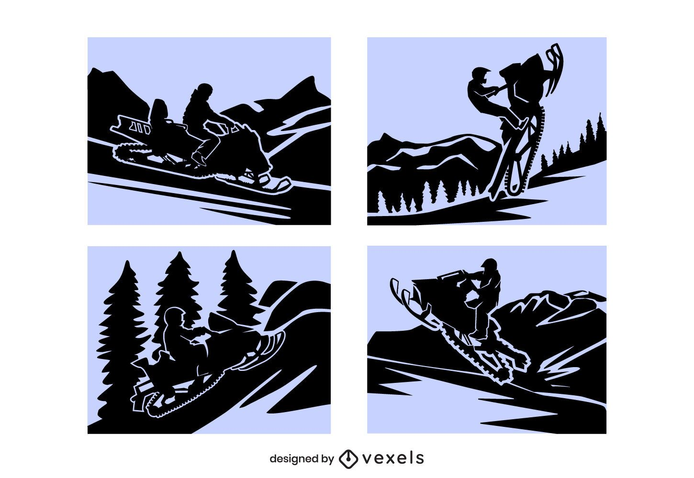 Conjunto de composición de papercut de motos de nieve