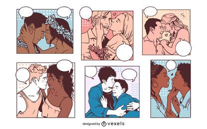Conjunto de painéis de quadrinhos de casal vintage