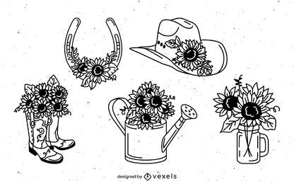 Conjunto dibujado a mano de girasoles de campo