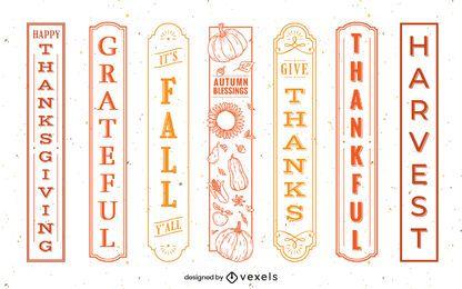 Conjunto de etiquetas de cotización de acción de gracias