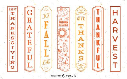 Thanksgiving quote label set