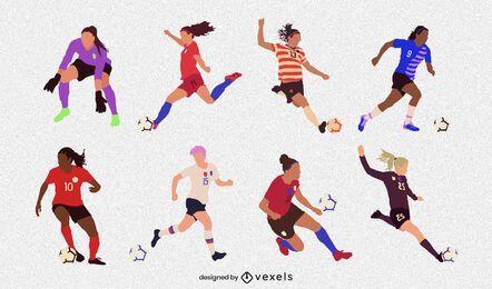 Conjunto de jugador de fútbol femenino plano