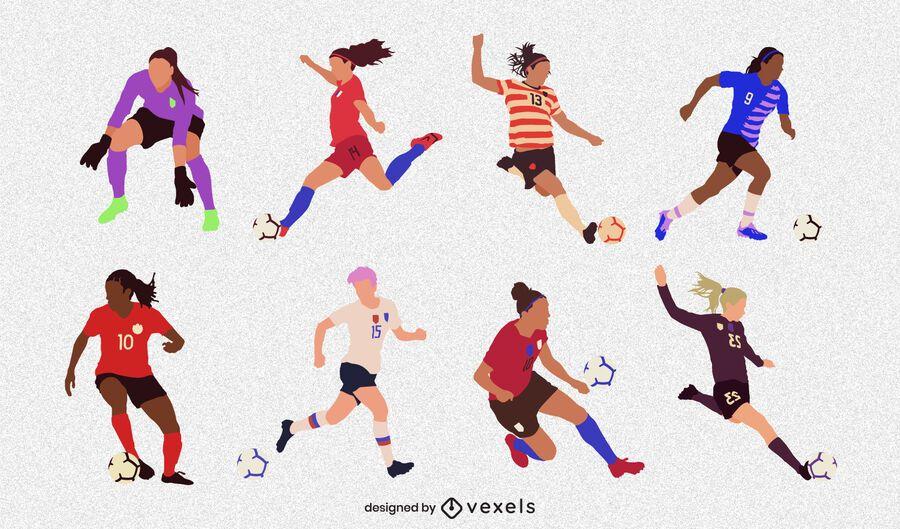 Flat female soccer player set