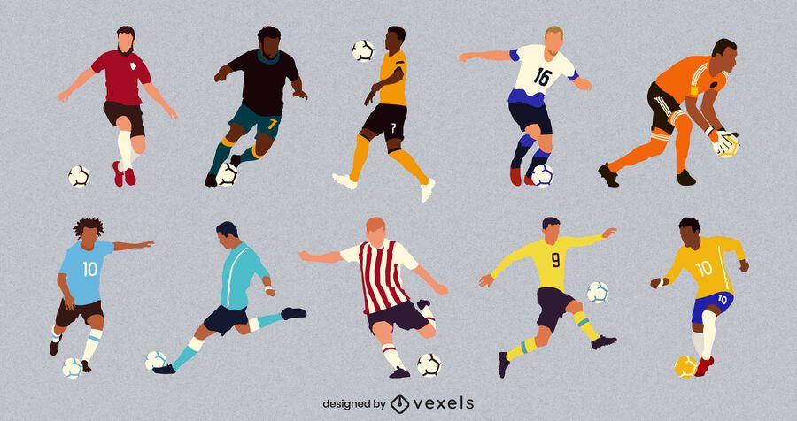 Flat male soccer player set