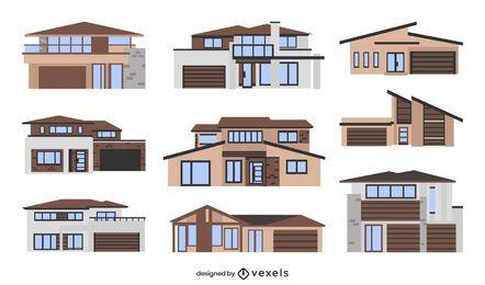 Moderne Häuser flach eingestellt