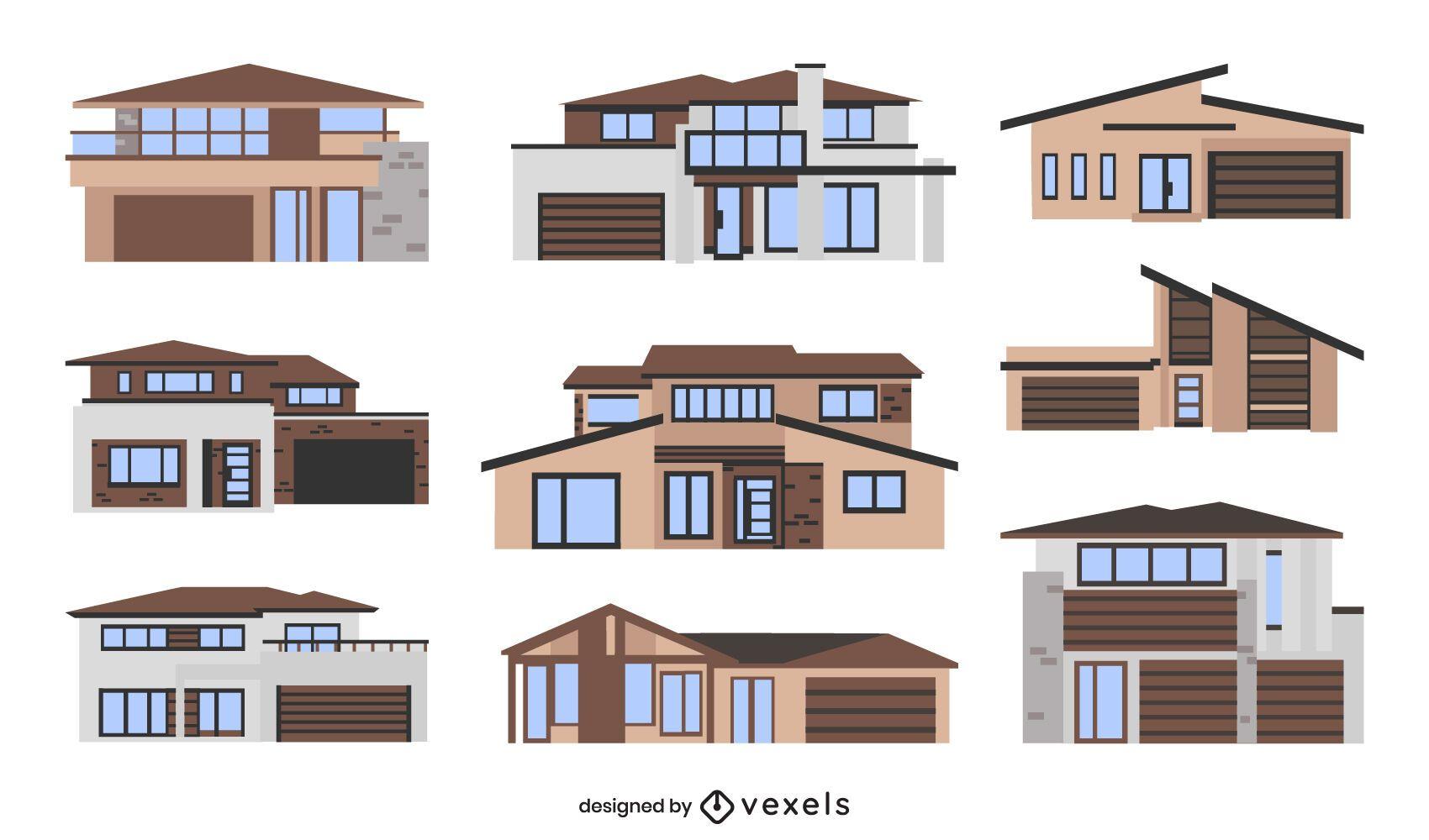 Modern houses flat set