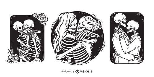 Skelettpaare Illustrationssatz