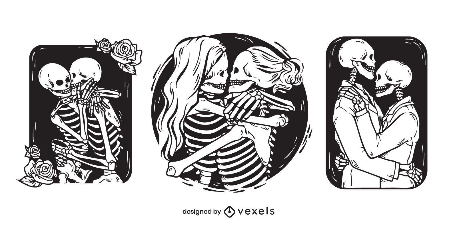 Conjunto de ilustración de parejas de esqueletos