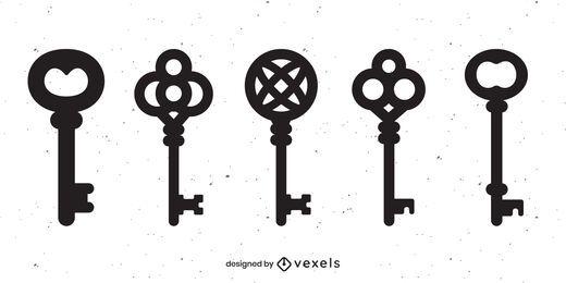 Vintage Schlüssel schwarz Set
