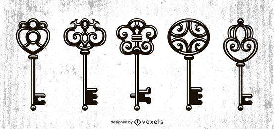 Diseño de conjunto de llaves vintage