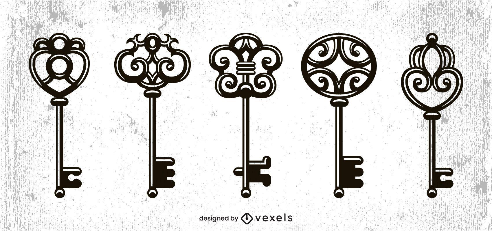Vintage keys set design