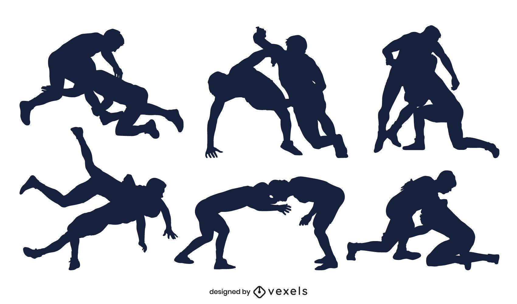 Conjunto de silueta de poses de lucha libre