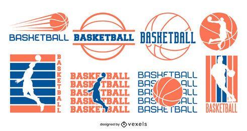 Conjunto de design de distintivo de basquete