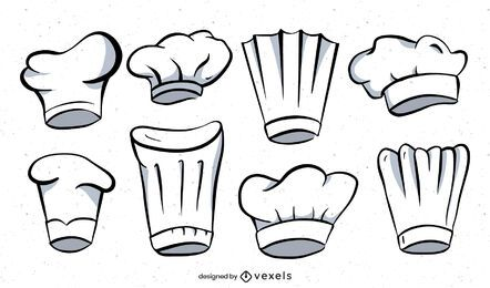 Chef hat illustration set