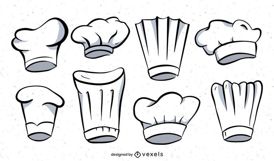 Conjunto de ilustración de sombrero de chef
