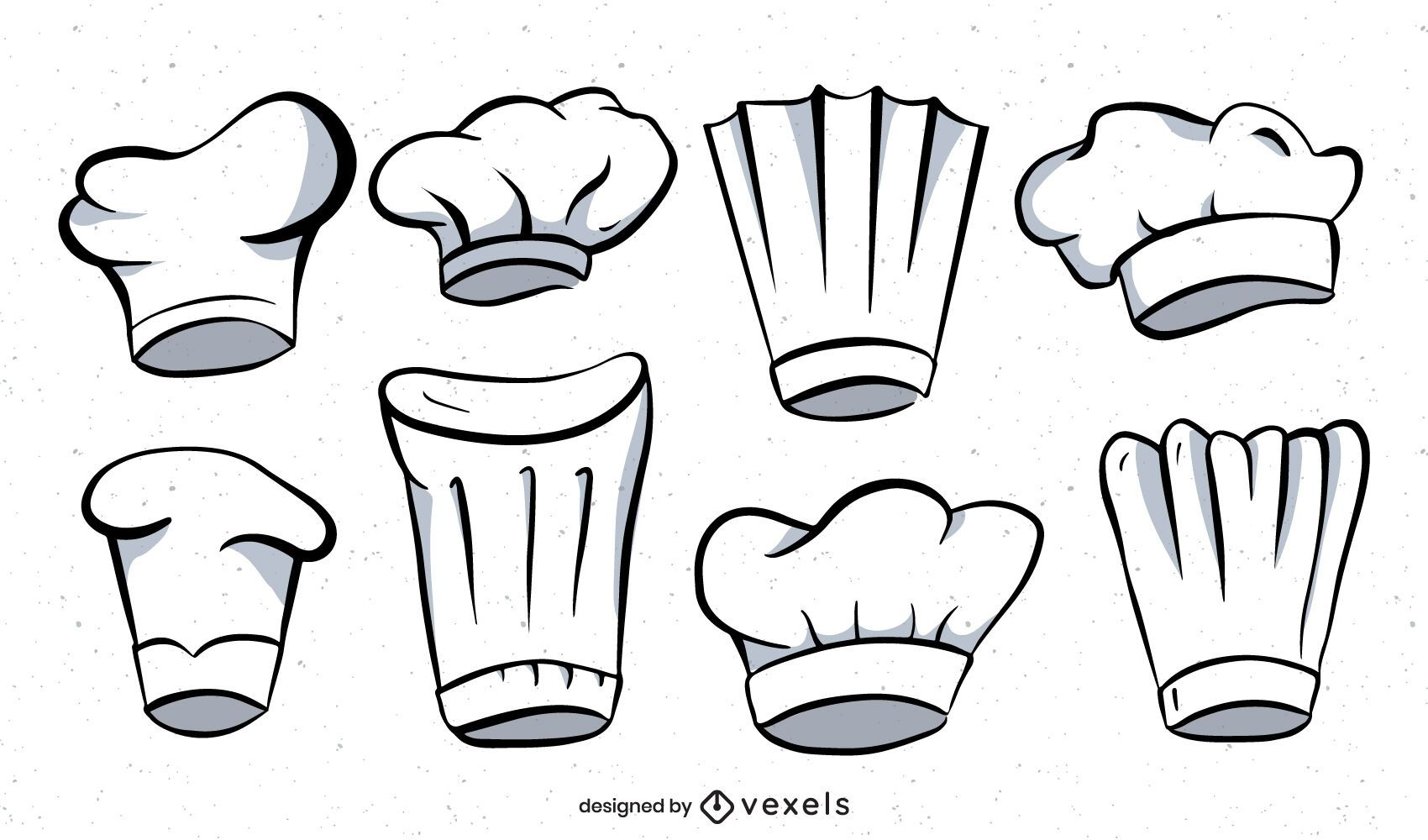 Chef hat illustration set