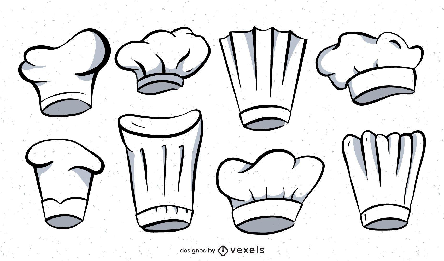 Conjunto de ilustração de chapéu de chef