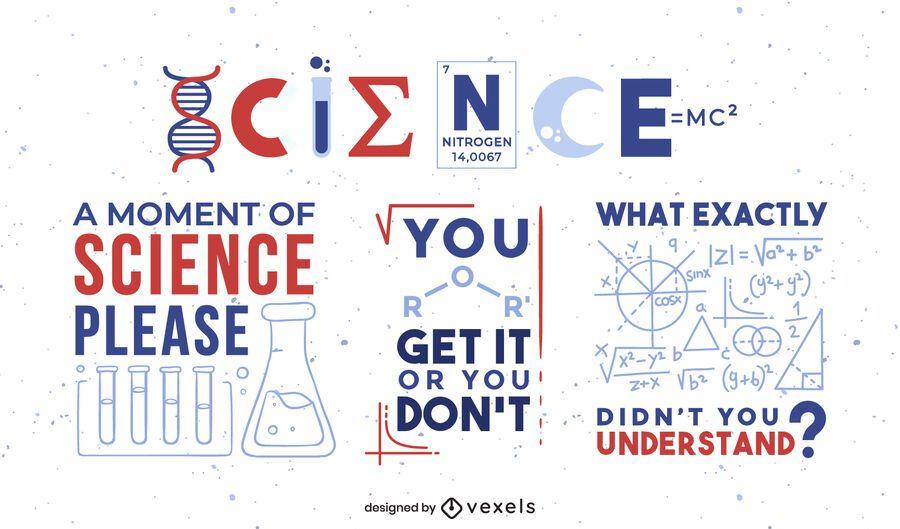 Conjunto de insignia de cita de ciencia