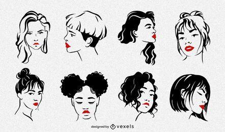 Conjunto de ilustração de rostos femininos
