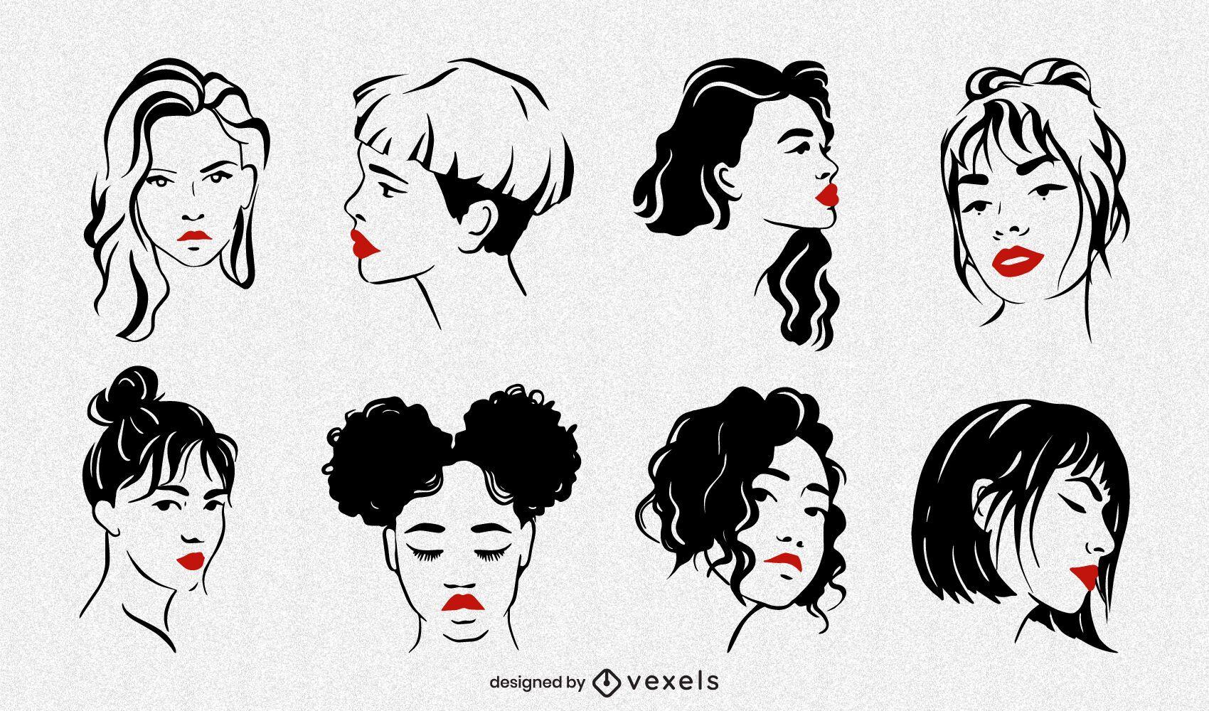 Conjunto de ilustración de caras de mujeres