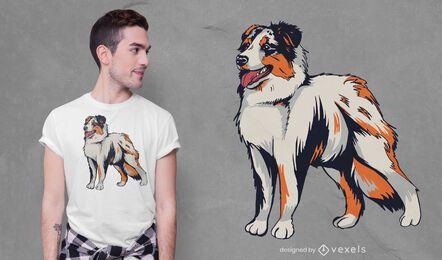 Diseño de camiseta de pastor australiano