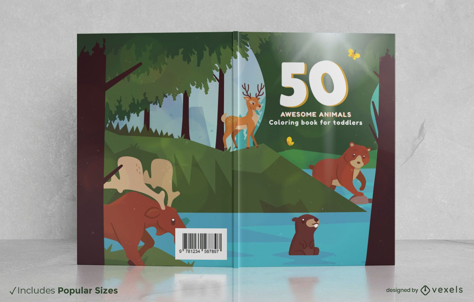 Forest animals coloring book cover design