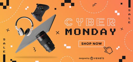 Design de controle deslizante de promoção da Cyber Monday