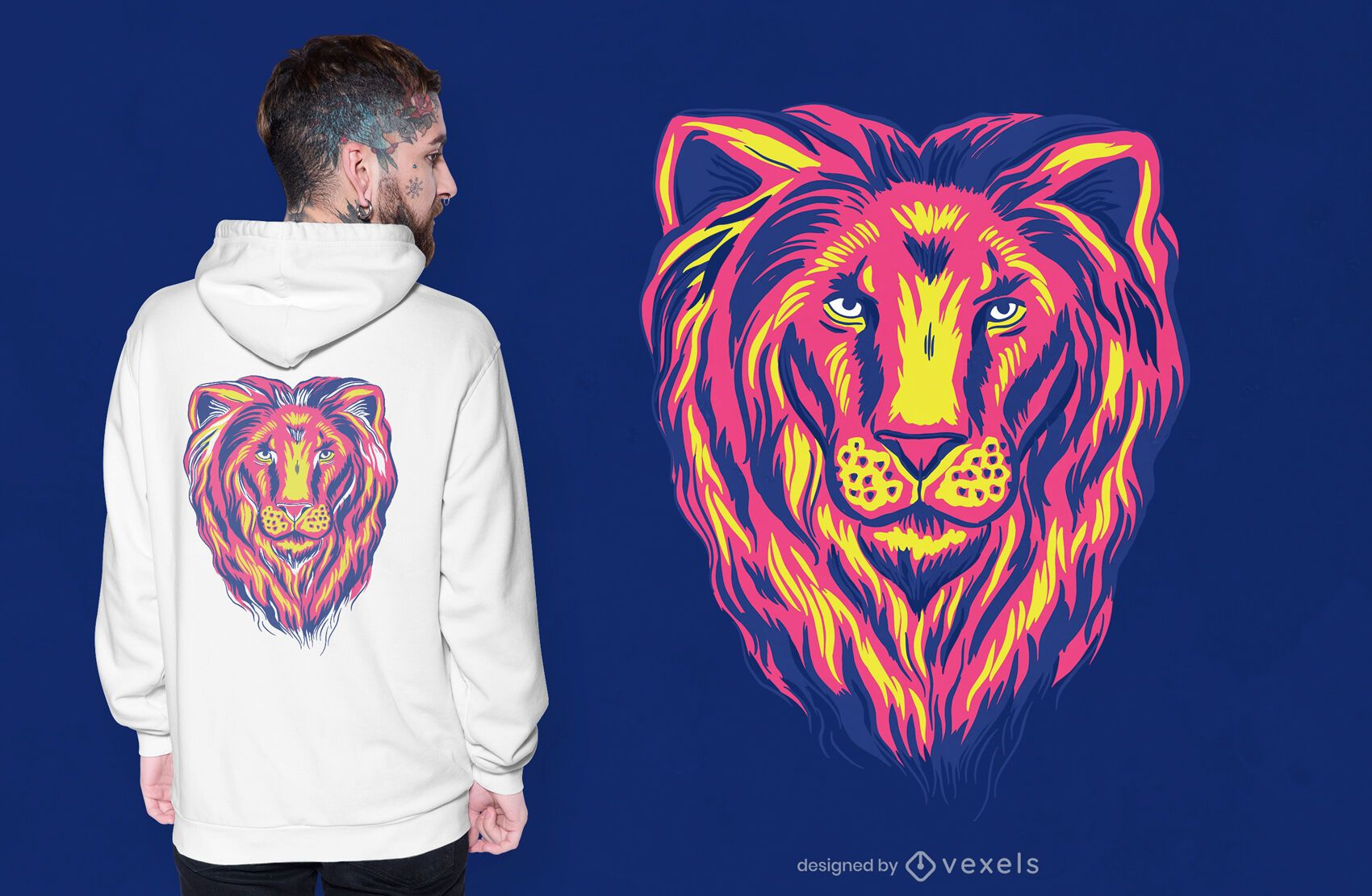 Design de camiseta colorida de leão