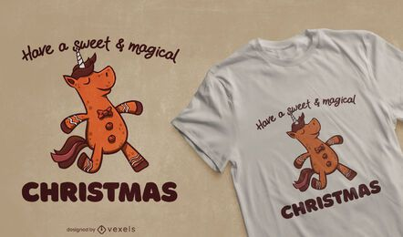 Gingerbread unicorn cookie t-shirt design