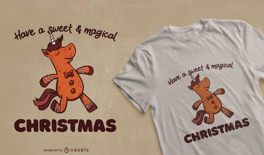 Diseño de camiseta de galleta de unicornio de pan de jengibre