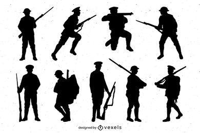 Conjunto de silhueta militar da Primeira Guerra Mundial