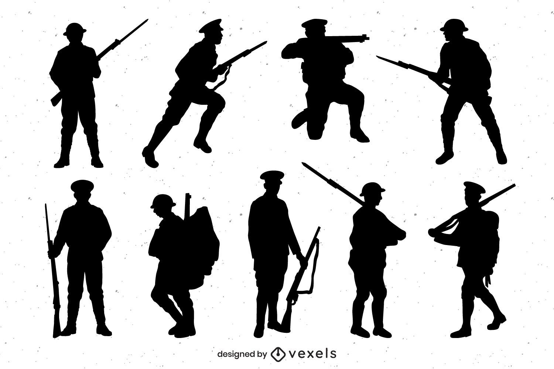 Conjunto de silueta militar de la Primera Guerra Mundial