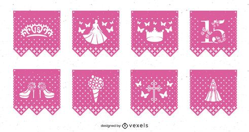Quinceanera papel picado set