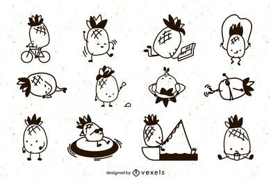 Cute pineapples stroke character set