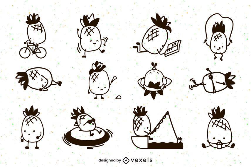 Lindo conjunto de caracteres de trazo de piñas
