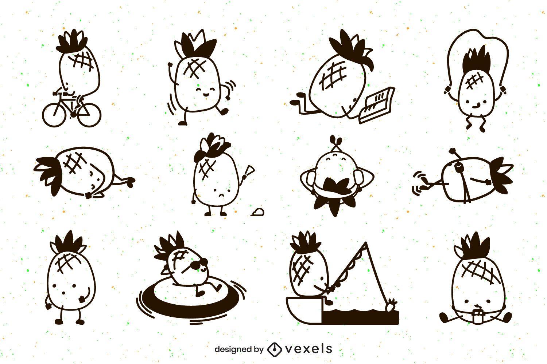 Cute pineapples stroke character set
