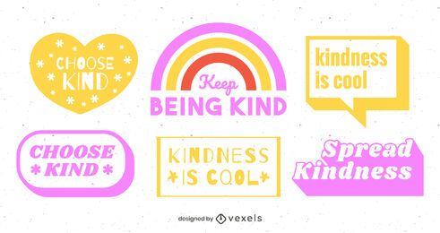 Be kind lettering design set