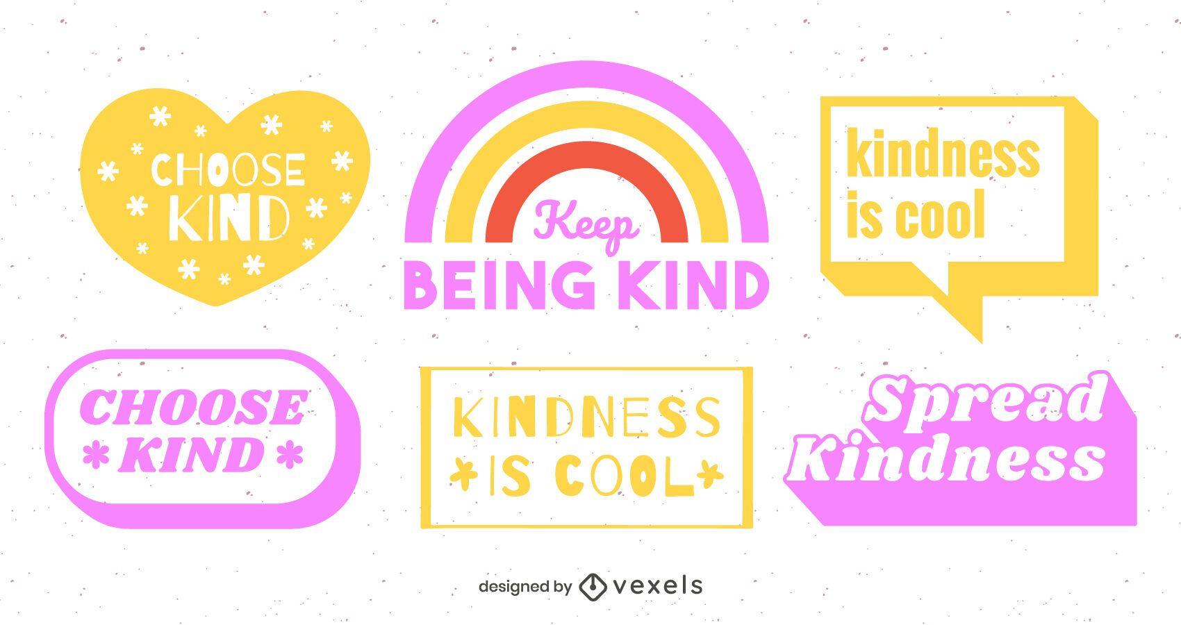 Be kind lettering design set