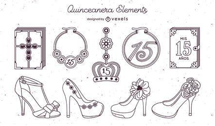 Conjunto de trazos de elementos de quinceañera