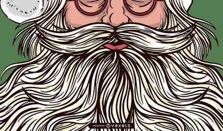 Projeto de ilustração de barba de Papai Noel