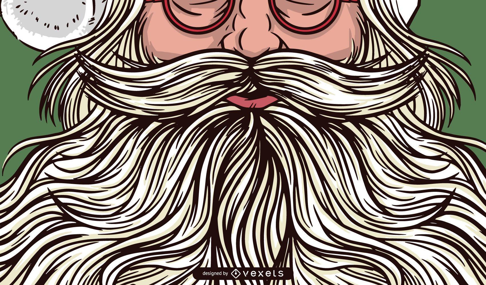 Santa beard illustration design