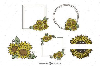Sonnenblumenrahmen und Ornamentverpackung