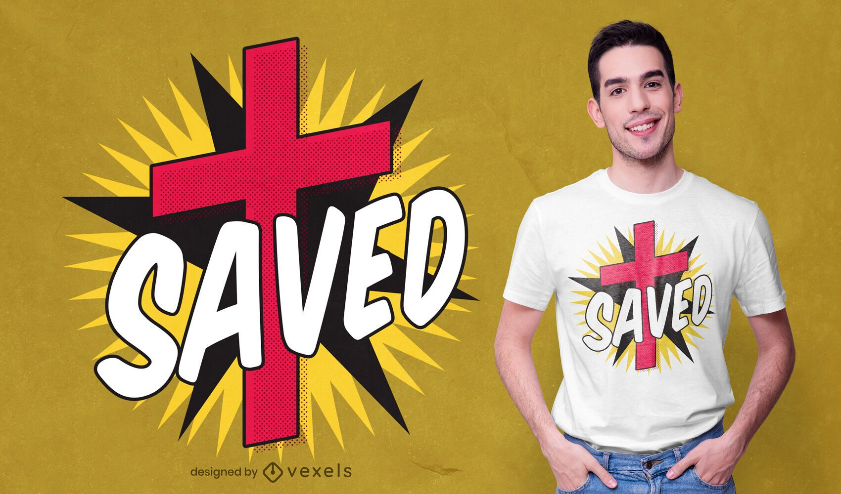 Comic cross t-shirt design