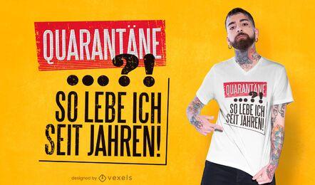 Design de camiseta com citações alemãs para quarentena