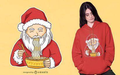 Diseño de camiseta ramen santa