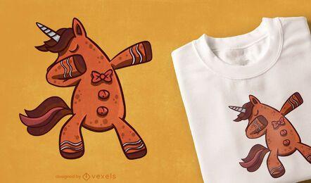 Diseño de camiseta de unicornio de pan de jengibre
