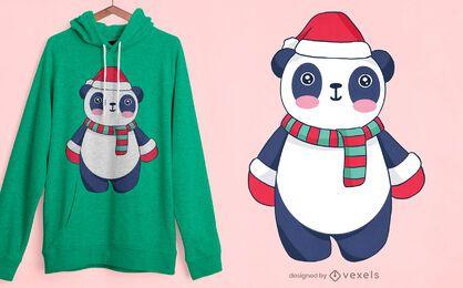 Design fofo de camiseta panda de natal